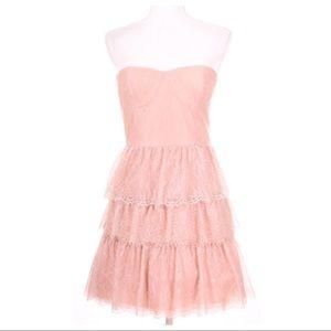 BCBGMaxAzria Lilah Pink Lace Strapless Dress 8